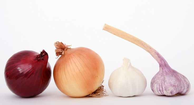 red brown white and purple onions and garlic displayed